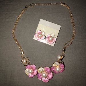 🦋Purple necklace and earring set
